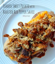 Loaded Sweet Potato with Roasted Red Pepper Sauce. For all that left over pork
