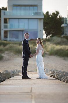 Bride and groom just married sandbanks beach summertime