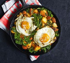 Serve up brunch with a bang - this pan-fried potato hash with Spanish sausage and earthy greens will start the day on the best possible foot