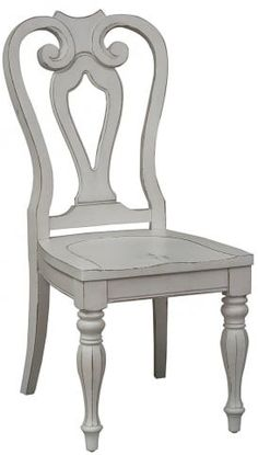 Magnolia Manor Antique White Splat Back Side Chair from Liberty Solid Wood Dining Chairs, Dining Room Chairs, Side Chairs, Dinning Set, Dining Table Design, Chair Design Wooden, Small Stool, Photo On Wood, Sofa Furniture