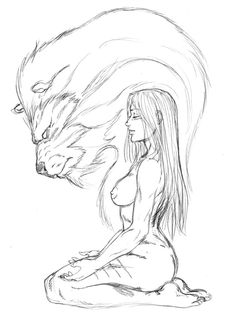 Ayla and the Cave Lion Spirit by Alejandro Saavedra [©2011]