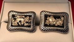 Original Vintage Hickok Monte Carlo Silver Leaf Cufflink Set by CremedelaCuff on Etsy