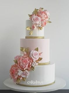 Gorgeous blush pink flowers with golden leaves - love the contrast of the golden leaf against the blush pink background by cakelava