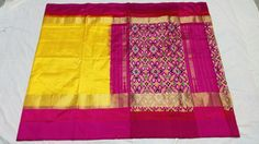 Charming yellow ikkat silk saree with pink borders and patola pallu