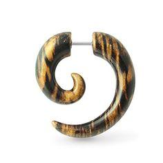 Piercing-Schmuck Spiral Stammes-Holzmuster UV Acryl mit 316L chirurgischer Stahl gefälschte Ohr Stecker - http://schmuckhaus.online/chennai-jewellery/piercing-schmuck-spiral-stammes-holzmuster-uv