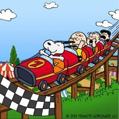 Snoopy Roller-coaster, how cool is that? Peanuts Gang, Charlie Brown And Snoopy, Snoopy Cartoon, Peanuts Cartoon, Peanuts Movie, Snoopy Comics, Snoopy Love, Snoopy And Woodstock, Happy Tuesday Pictures