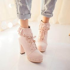 Lovely High Heels With Lace, Stylish High Heel Shoes With Lace, Lace-Up High Heels