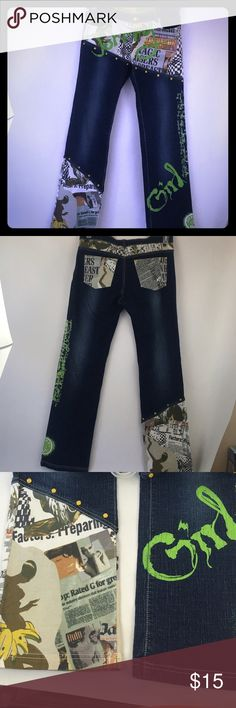 "Johnny Girl Graphic Blue Jeans Size 7 Rare Graphic Johnny Girl Jeans size 7. These super stand out jeans with green glitter detail and text. Yellow grommets detail as well. Please let me know if you need better pics. Length 40"", waist 17"", inseam 32"". Thanks for shopping my closet! Johnny Girl Jeans Boot Cut"
