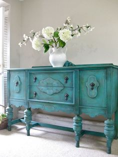 SOLD - Hand Painted French Country Cottage Chic Shabby Romantic Vintage Victorian Jacobean Aqua Turquoise Sideboard Cabinet Buffet