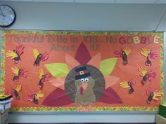 My November / Thanksgiving bulletin board. The little turkeys are made out of my student's foot and hand prints. The big turkey I made from construction paper. Daycare Bulletin Boards, November Bulletin Boards, Fall Bulletin Boards, Library Bulletin Boards, Thanksgiving Bulliten Boards, Turkey Handprint, Handprint Poem, November Thanksgiving, Math Crafts