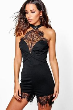 adb48169e6 boohoo Mia Sheer Lace Front Playsuit With Choker Sexy Outfits