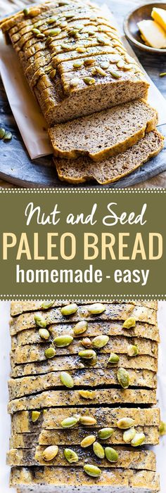 Homemade Nut and Seed Paleo Bread. Finally, a homemade paleo bread that is soft, easy to make, and great for sandwiches. This wholesome nutty bread is freezable and low carb! A grain free bread to enjoy at each meal. /cottercrunch/ Source by cottercrunch Dairy Free Bread, Gluten Free Baking, Dairy Free Recipes, Paleo Recipes, Low Carb Recipes, Baking Recipes, Whole Food Recipes, Dessert Recipes, Desserts