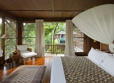 COMO Shambhala Estate - residential health retreat with luxury villa-style accomodations near Ubud, Bali Ubud, Bali Bedroom, Balinese Interior, Bali Retreat, Teak Flooring, Tropical Bedrooms, Decoration Bedroom, Outside Living, Outdoor Living