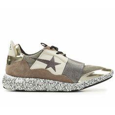 Pas Cher Chaussures Golden Goose Running Homme Sneakers Marron Blanc Argent
