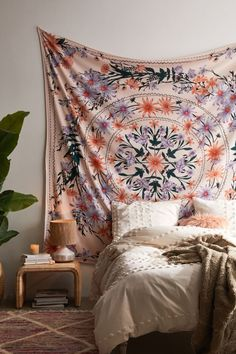 Shop Clara Floral Tapestry at Urban Outfitters today. We carry all the latest styles, colors and brands for you to choose from right here. Room Ideas Bedroom, Bedroom Decor, Floral Bedroom, Lights Bedroom, Bedroom Designs, Room Tapestry, Tapestry On Ceiling, Tapestry Bedroom Boho, Tapestry Beach