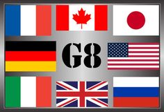 The flags of the Group of Eight