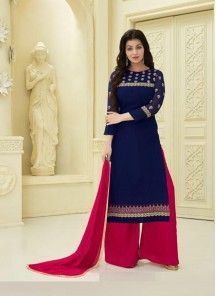 3168ad139b Gilded Navy Blue Faux Georgette Embroidery Work Palazzo Style Salwar Suit