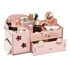 DIY Wooden Board Storage Box Desk Decor Stationery Makeup Cosmetic Organizer New Wooden Organizer, Wooden Storage Boxes, Wooden Boxes, Wooden Box Crafts, Wooden Diy, Cosmetic Box, Cosmetic Storage, Diy Gift Box, Diy Box