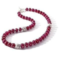 "Colleen Lopez Ruby and Sterling Silver Bead 18"" Necklace @ hsn.com <3"