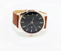 Rose Gold Watch WomenNo Name Brown Genuine Leather Watch Band Date Function Movement Japan