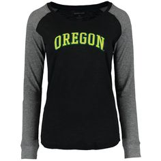 Oregon Ducks Women's Preppy Elbow Patch Slub Long Sleeve T-Shirt - Black