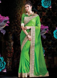Lustrous Green Faux Georgette Different Style Saree www.ethnicoutfits.com Email : support@ethnicoutfits.com What's app : +918141377746 Call : +918140714515