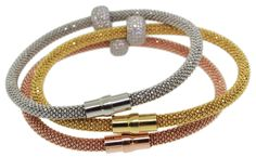 $310 Set Of Three 925 Sterling Silver Magnetic Mesh Cubic Zirconia Bracelets