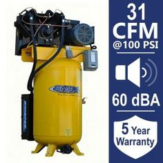 EMAX Industrial PLUS Series 80 Gal. 10 HP Silent Air Electric Air Compressor with pressure lubricated pump Quiet Air Compressor, Compressor Tank, Electric Air Compressor, Mobile Tool Box, Iron Tanks, Air Tools, Electric Power, Noise Reduction