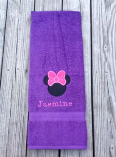 f7426ac646 mickey or Minnie Mouse appliqué embroidered bath   pool towel