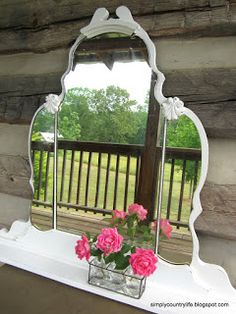 Simply Country Life: Repurposed Antique Vanity Mirror Turned Wall Shelf #amyhowardchalkpaint #chalkpaint #amyhoward
