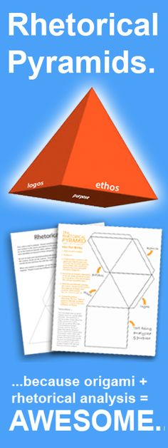 English teachers, from middle school ELA to AP Language, use Rhetorical Pyramid origami to teach and reinforce the rhetorical appeals (ethos, pathos, and logos) with your kiddos.  Awesome lesson plan! Print, copy, and go!