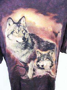 Vintage Tie Dye Wolf Animal Print T-Shirt XL