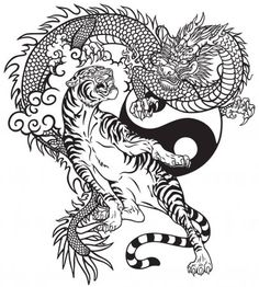 Black and white tattoo vector illustration included… Chinese dragon versus tiger. Black and white tattoo vector illustration included Yin Yang symbol Dragon Tiger Tattoo, Dragon Tattoo Images, White Tiger Tattoo, Dragon Tattoo For Women, Japanese Dragon Tattoos, Dragon Tattoo Designs, Chinese Tattoos, Dragon Yin Yang Tattoo, White Tattoos