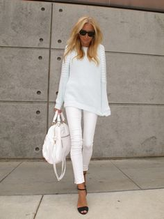 all white and black heels