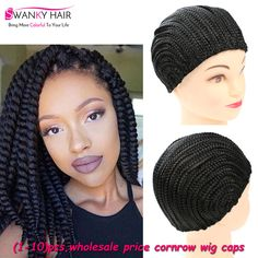 Hot Sell Easier To Sew In Braided Cornrow Wig Caps For Making Wigs (1- 28a27058f