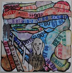 Unique, original art made from car/vehicle tax discs: Munch 'The Scream' canvas Scream Parody, Citation Art, Le Cri, Expressionist Artists, Edvard Munch, Orange Sky, Imaginative Play, Fathers Day Gifts, Modern Art