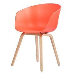 Danish brand About A Chair Collection, colored by HAY.. made of polypropylene and veneered oak... this one in coral | Huset-Shop.com |