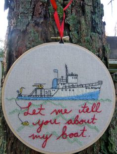 Wes Anderson The Life Aquatic Hand Embroidered Hoop Art.