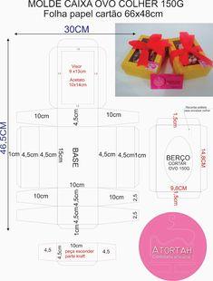 DICAS E RECEITAS DE ATORTAH: MOLDE CAIXA OVO DE PÁSCOA DE COLHER Cupcake Packaging, Origami, Paper Purse, Cupcake Boxes, Beautiful Table Settings, Chocolate Packaging, Paper Crafts, Diy Crafts, Diy Box