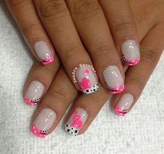 Ideas For Nails Sencillas Puntos French Nails, Hot Nails, Hair And Nails, Simple Nail Designs, Creative Nail Designs, Nagel Hacks, Holiday Nail Art, Disney Nails, Crazy Nails