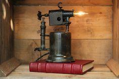 Repurposed Vintage Blow Torch Table Lamps - Upcycled Desk Light - Kerosene Industrial Lighting