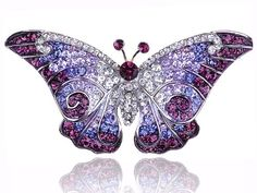 Empress Monarch Purple Winged Butterfly Swarovski Crystal Rhinestone Pin Brooch - http://cheune.com/a/18318760814145209