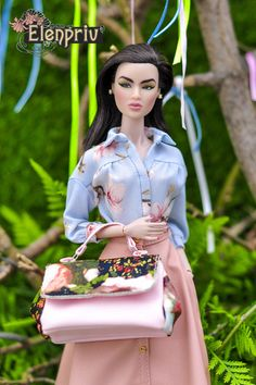 ELENPRIV oversize flower printed leather bag for Fashion Royalty FR2 Barbie doll #Elenpriv