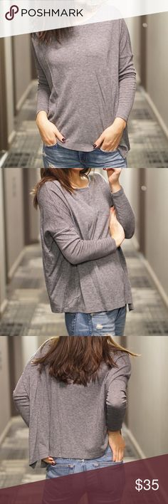 Club Monaco grey quarter length sleeve I LOVE this top. Pairs well with leather leggings or jeans, great for casual wear and tall boots or booties: Club Monaco Tops Tees - Long Sleeve