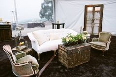 Rustic wedding reception lounge furniture from Found Vintage Rentals