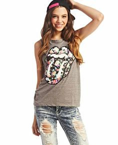 Rolling Stones floral muscle tank.
