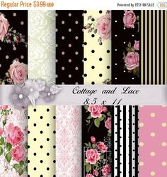 50 % Off Digital Background: Pink and Black Pink and White