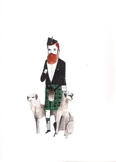 Scottish Gent with Scottish Deerhounds by DickVincent on Etsy, £13.00
