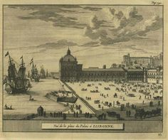 Terreiro do Paço, Lisboa. French drawing of the Palace of Ribeira in the 18th century