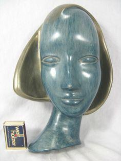 Art Deco Design Wandmaske / wall mask  Achatit Werkstätten Hans Schirmer   27 cm Deco Wall, Head Mask, Art Deco Design, Wall Plaques, German, Porcelain, Faces, Pottery, Statue